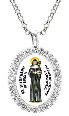 St Hildegard of Bingen Patron of Authors & Composers Cz Crystal Silver Necklace Pendant Medical, Silver Pendant Necklace, Silver Plate, Saints, Chain, Crystals, Handmade, Composers, Authors