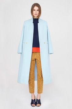 Pack a punch with pastels. Pastels for fall are a bit unexpected, but completely chic. The simplest way to rock the trend is to pick up a coat in your favorite pastel hue. Choose an unstructured piece to keep the look modern.