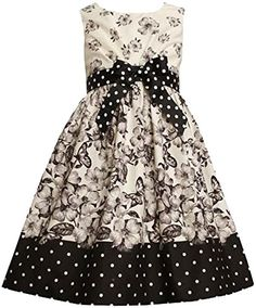 67fd46036d3a Bonnie Jean Little Girls Bow Front Radiator Pleat Floral Butterfly Print  Dress, Black/White,