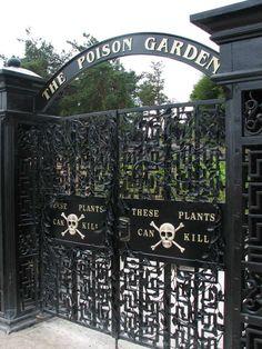 The Poison Garden gates, Alnwick Gardens, Alnwick, Northumberland, England