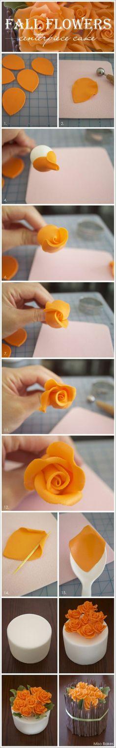 diy, diy projects, diy craft, handmade, diy fall flowers centerpiece cake