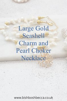 This large seashell necklace reminds me of coral or seaweed. So I designed a simple pearl choker to show off the large gold plated seashell charm at its best.