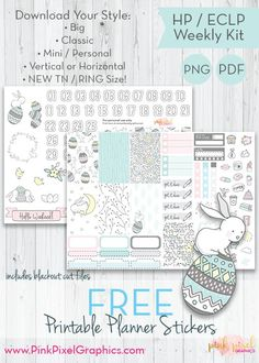 Free Printable Easter Bunny Buddies Planner Stickers. {subscription required} See more at www.pinkpixelgraphics.com