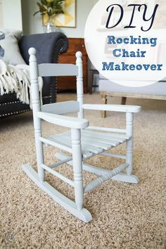 Refinishing furniture is fun and economical but sanding can be tedious. Come and learn how to repaint furniture without sanding. Old Rocking Chairs, Painted Rocking Chairs, Childs Rocking Chair, Repainting Furniture, Painted Furniture, Kids Furniture, Furniture Decor, Rocking Chair Makeover, Patterned Armchair