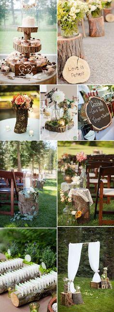 creative tree stump wedding ideas #weddingideas