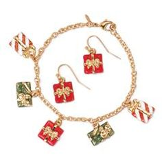 Happy Holidays Present Bracelet and Earrings Gift Set