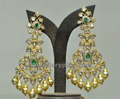 Uncut chandelier earrings by Hiya jewelelrs - Latest Jewellery Designs