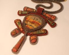 bead embroidery necklace Pendant Jewelry, Diy Jewelry, Beaded Jewelry, Handmade Jewelry, Bead Embroidery Jewelry, Beaded Embroidery, Orange Art, Slave Bracelet, Embroidery