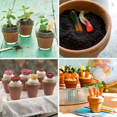 Flowerpot desserts: potted chocolate pudding with oreo cookie crumble as faux dirt, banana cupcakes with cream cheese frosting and hummus with baby carrots and curly paisley tops!