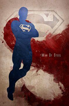 Silhouette Splatter Superhero Art ... Superman /// via GeekTyrant