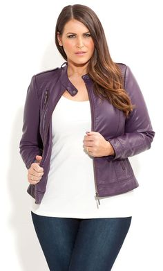 City Chic - HARLOW BIKER JACKET - Women's plus size fashion [ HGNJShoppingMall.com ] #plussizeclothing