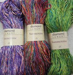 Summertime Shawl Kit 1 by Diamond Luxury with cotton and acrylic Knitting Kits, Shawl, Summertime, Luxury, Diamond, Hair Styles, How To Make, Cotton, Beauty
