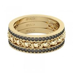 3PC Yellow Gold Rhodium Plated Sterling Silver Skull Ring - #jeulia - #Coupons - #sale