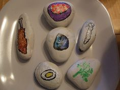 Seder plate we made with stones we painted to represent the Passover meal
