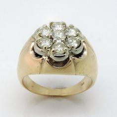 2 Cttw. Vintage Men's 14k Diamond Cluster RIng by EstateDeals