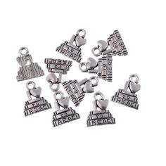 10pcs Tibetan Silver bead charms I love read Fit for Bracelet Necklace making 1*1.3cm