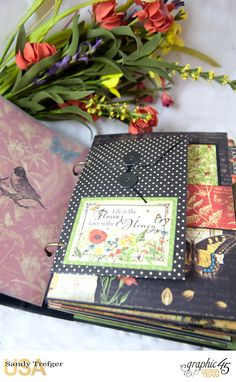 Year in Review Album, Nature Sketchbook, Tutorial by Sandy Trefger, Product by Graphic 45, Photo 014