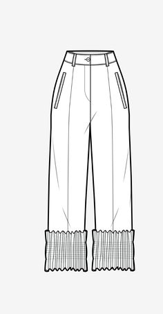 Ss19 wgsn silhouette panel trouser fabric manipulation Fashion Design Sketchbook, Fashion Design Portfolio, Fashion Illustration Sketches, Fashion Sketches, Drawing Fashion, Design Illustrations, Clothing Sketches, Dress Sketches, Croquis Fashion