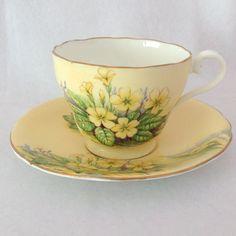 1930s Aynsley English Bone China Yellow Primroses C591/1 Tea Cup and Saucer