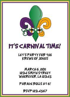 Mardi Gras Party Invitation by letspartynola on Etsy, $10.00