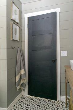 Wall color Silt Gray.. door is Dark Kettle Black both Valspar