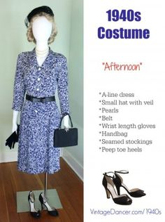 1940s costume idea. Afternoon dress with accessories. 1980s does 1940s. vintagedancer.com