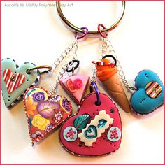 Polymer Clay Bag Decoration / Key Chain with Hearts, Ice Cream and Cake