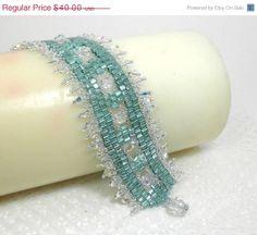ON SALE Woven Aqua and Crystal Bracelet