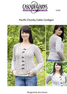 Cabled Cardigan in Cascade Pacific Chunky - C234