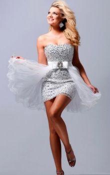 Silver Sheath/Column Strapless Empire Short/Mini Sleeveless Prom Dresses Dress