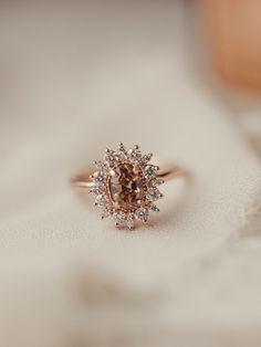 Champagne Engagement Rings, Champagne Diamond Rings, Gemstone Engagement Rings, Gold Rings, Old Fashioned Wedding, Halo Diamond, Wedding Ring Bands, Gemstones, Till Death