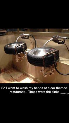 25 Ideas bathroom design restaurant man cave for 2019 Car Part Furniture, Automotive Furniture, Automotive Decor, Man Cave Furniture, Unique Bathroom Sinks, Car Themes, Room Themes, Man Cave Garage, Gas Pumps