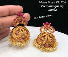 Elegant Fashion Wear Explore the trendy fashion wear by different stores from India India Jewelry, Temple Jewellery, Gold Jewelry, Jewelery, Gold Jhumka Earrings, Golden Earrings, Light Weight Gold Jewellery, Necklace Set, Beaded Necklace