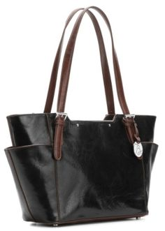 $79, Black Leather Tote Bag: Borsela Winged Leather Shopper Tote. Sold by DSW. Click for more info: https://lookastic.com/women/shop_items/147040/redirect
