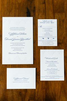 White & Blue Wedding Invitations | The Dandelion Patch | Douglas Levy Photogrpahy | Theknot.com