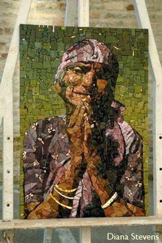 mireille swinnen mosaics - Google Search Mosaic Ideas, Mosaic Projects, Mosaic Designs, Mosaic Portrait, Mosaic Pieces, Glass Ceramic, Light Art, Pyrography, Mosaic Art
