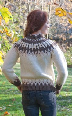 Luxury Hand-Knitted Icelandic Cardigan, 'Stefansson' by Scotweb Hand-Knit Icelandic Woollens from Scotland Fair Isle Knitting, Hand Knitting, Nordic Sweater, Icelandic Sweaters, Hand Knitted Sweaters, Pullover, Sweater Design, Wool Cardigan, Sweater Fashion