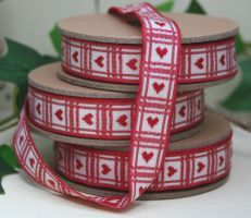 East of India embroidered ribbon with red heart