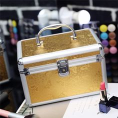 Professional Aluminum Makeup Case Portable Travel Jewelry Train Case Cosmetic Organizer Case Box With Mirror Beauty Vanity Case