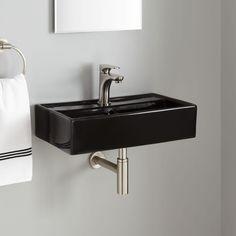 Small Bathroom Vanities and Sink You Can Crunch Into Even the Teeny Bathroom Bathroom Under Stairs, Add A Bathroom, Small Bathroom Vanities, Tiny House Bathroom, Downstairs Bathroom, Small Vanity Sink, Small Sink, Wall Mounted Basins, Wall Mounted Bathroom Sinks