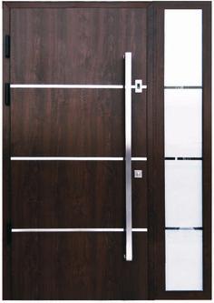 """""""Sofia"""" - Stainless Steel Modern Entry Door in Walnut Finish Front Door Entrance, Glass Front Door, Entry Doors, Sliding Doors, Modern Entry Door, Contemporary Front Doors, Front Door Handles, Door Handle Sets, Double Front Doors"""