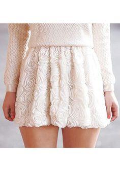 3D Roses White Skirt//