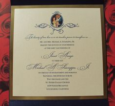 Inside of Beauty and the beast invitation - http://www.fairytalewedding.com/#