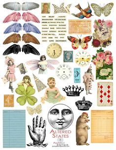 This is sort of a hodge podge of a variety of all sorts of vintage items. They can also be used in your collage art, ACEOs, and jewelry making. The file you recieve will not have the watermarks on the images. The digital collage sheet is comprised of high quality and high resolution