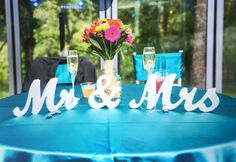 """Beautiful """"Mr & Mrs"""" signs for the bride and groom's wedding table!"""