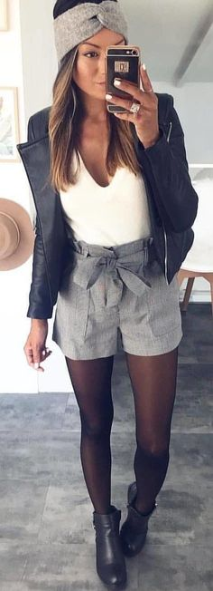 #spring #outfits white v-neck shirt with black leather zip-up jacket and gray short shorts outfit. Pic by @milano_streetstyle