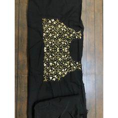 black georgette partywear saree with embroidered blouse - Fabric - georgetteblouse : tapeta silk with heavy work ( unstitched ) Embroidered Blouse, Sarees, Silk, Fabric, Black, Tops, Women, Fashion, Tejido