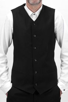 VE 001 M | Longer suit waistcoat with lining made of organic stretch cotton gabardine - ethical fashion biomee