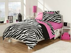Pink Zebra Print Bedding - Pink Zebra Teen Girl Bedroom Ideas. My daughter is wanting something like this for her room.