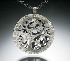 Rosette Necklace by Betty McKim Jewelry Crafts, Jewelry Art, Jewelry Design, Fashion Jewelry, Unique Jewelry, Jewellery Box, Mixed Metal Jewelry, Metal Necklaces, Metal Beads